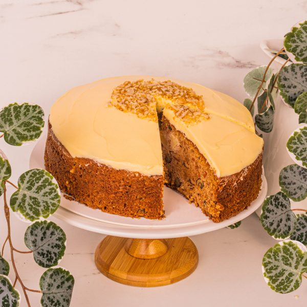 carrot cake sliced by mori cakes
