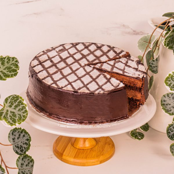 chocolate truffle cake sliced by mori cakes