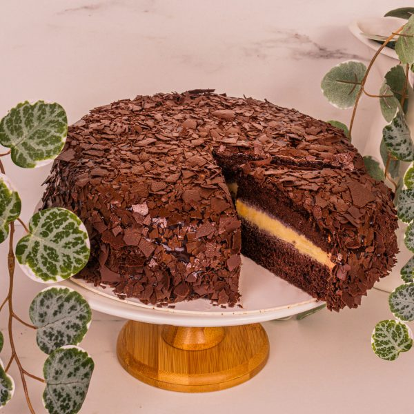 mao shan wang chocolate fudge cake sliced by mori cakes