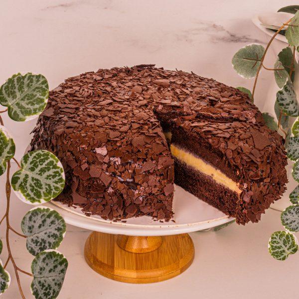 mao shan wang chocolate fudge cake sliced by mori cakes