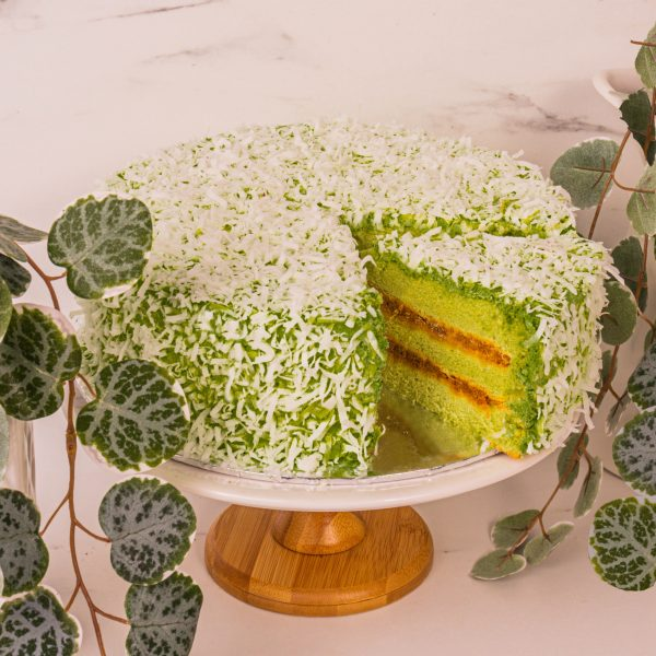 ondeh ondeh cake sliced by mori cakes