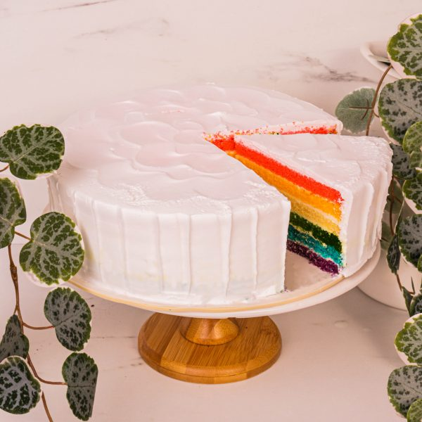 rainbow cake sliced by mori cakes