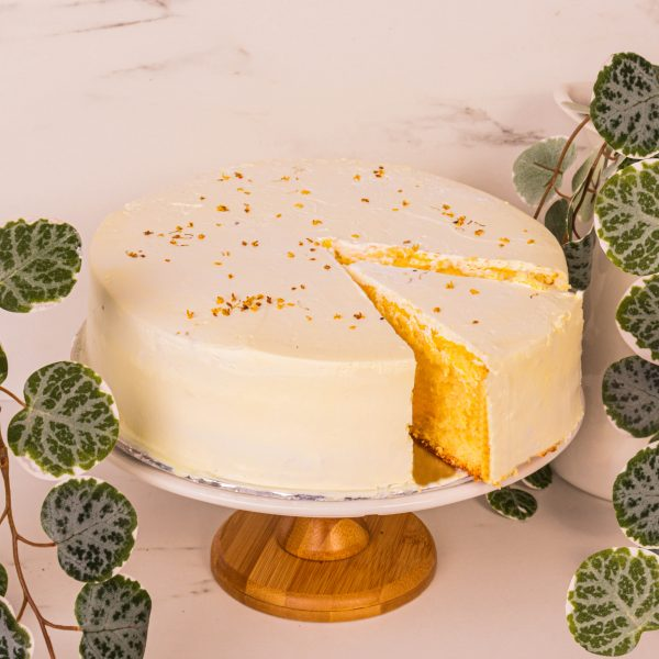 yuzu citrus osmanthus cake sliced by mori cakes