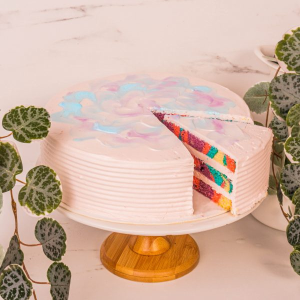 bubble gum cake sliced by mori cakes