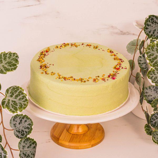 pistachio rose cake by mori cakes