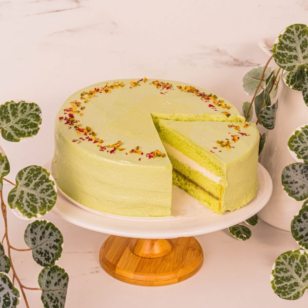 pistachio rose cake sliced by mori cakes