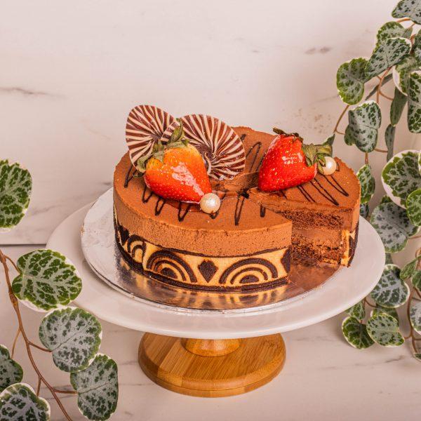 Chocolate Royaltine Cake sliced by mori cakes