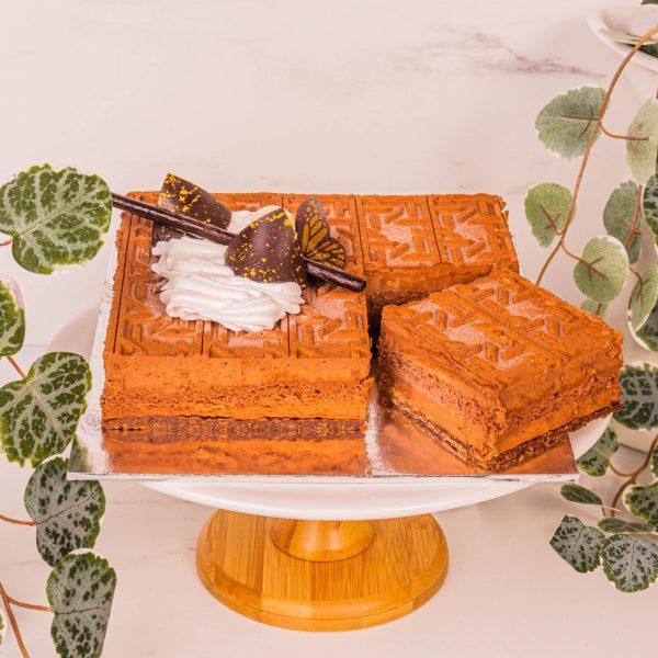 crunchy base hazelnut royale sliced by mori cakes