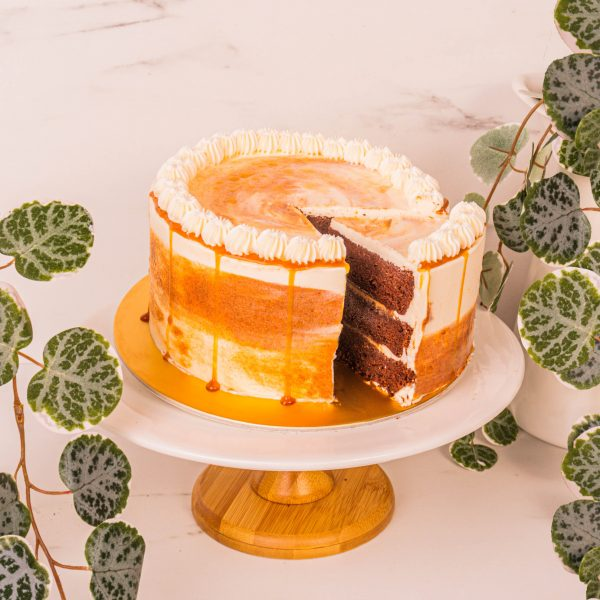 Caramel Chocolate Cake sliced by mori cakes