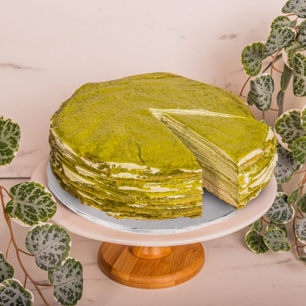 Matcha Mille Crepe sliced by mori cakes